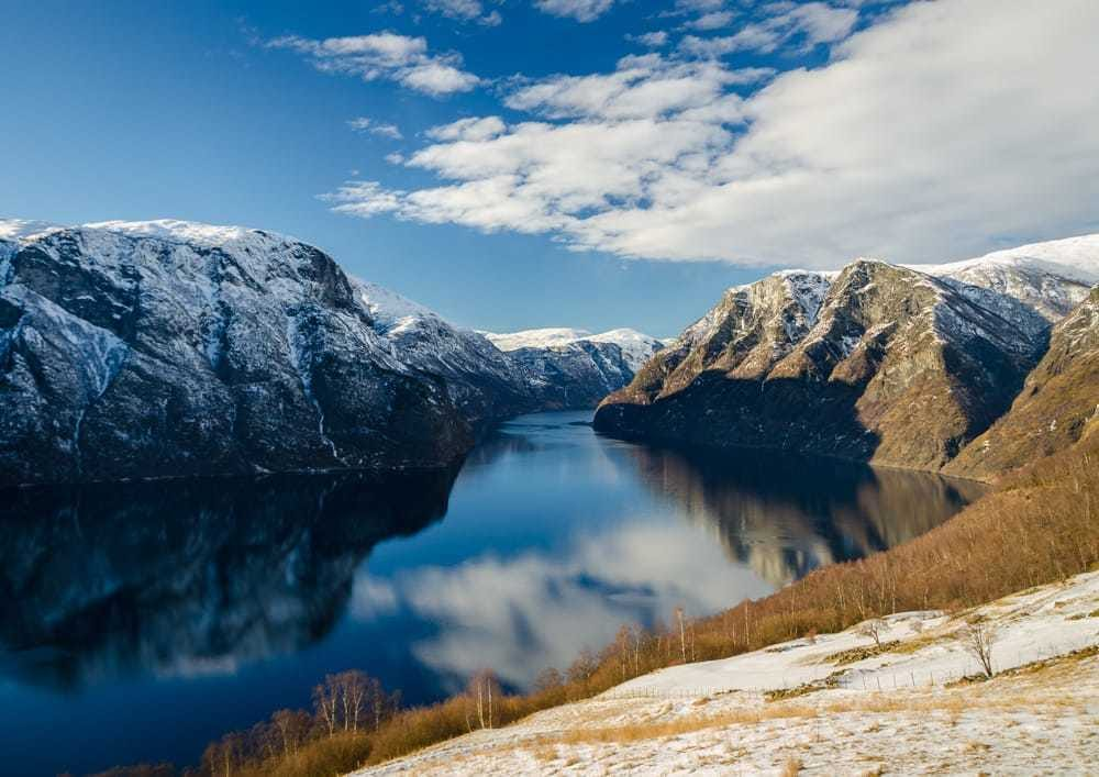 Aurlandsfjord on a sunny winter day